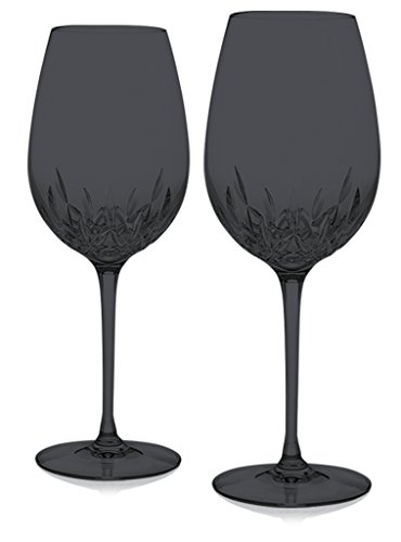 Black Waterford Crystal Lismore Essence Red Wine Goblet -set of 2- Additional Vibrant Colors Available by TableTop
