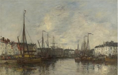 'Eugene Boudin - Brussels Harbour,1871' Oil Painting, 20x31 Inch / 51x80 Cm ,printed On High Quality Polyster Canvas ,this Best Price Art Decorative Canvas Prints Is Perfectly Suitalbe For Game Room Gallery Art And Home Decor And Gifts -