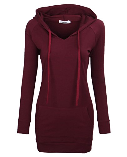 (BEPEI Hoodies for Women,Fashion V Neck Pocket Jersey Shirt Fall Trend Dressy Blouses Long Sleeve Drawstrings Sweatshirts Comfy A Line Tunic Top 2018 Oversized Plus Size Wine 2XL)
