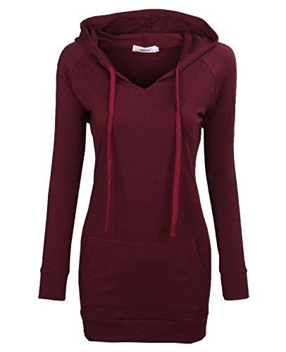 Bepei® Women's Long Sleeve Crewneck Tunic Sweatshirt String Hoodie Redwine 2XL - Womens Hooded Tunic