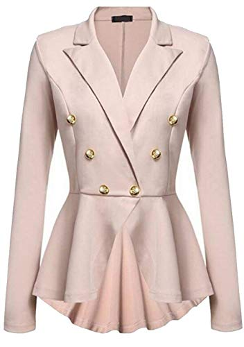 Lunga Manica Giovane Fit Colori Bavero Donna Khaki Business Breasted Women Outwear Solidi Giacca Autunno Slim Double Da Camicia Cappotto Corto Irregular Tailleur qOnSpvwx7