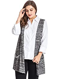 36003494a7d Women s Plus Size Melange Knit Cardigan Style Vest Jacket with Pockets
