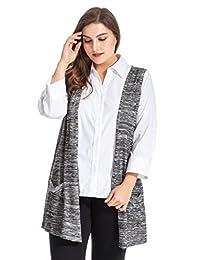 Chicwe Women's Melange Knit Plus Size Cardigan Style Vest with Pockets US14-30