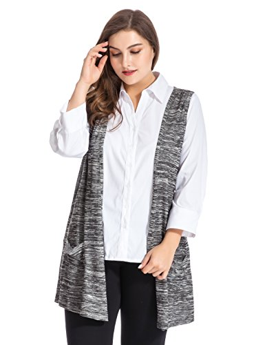 2464ecc56681e Galleon - Chicwe Women s Plus Size Melange Knit Cardigan Style Vest Jacket  With Pockets 22