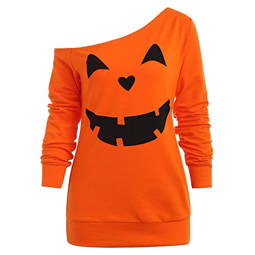 Women Halloween Costume Ghost Pumpkin Sweatshirt Long Sleeve Off Shoulder Top (M, ZO) ()