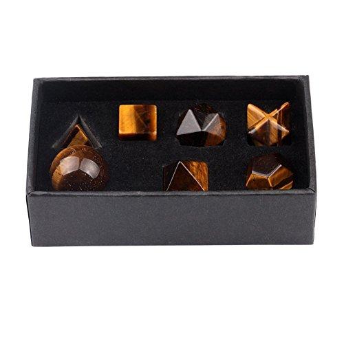 Banshren Engraved Tiger Eye Platonic Solid Crystals Sacred Geometry 7 Piece with Merkaba Star Stone Set