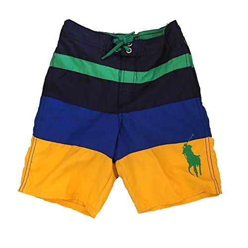 Ralph Lauren Boys Shorts (RALPH LAUREN Boys' Sanibel Striped Swim Trunks (Royal Mu, 7))