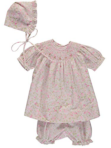 Carriage Boutiques Smocked Dress - Carriage Boutique Baby Girl Hand Smocked Floral Bishop Dress, 3M (Newborn) Pink