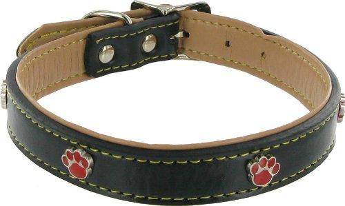 Kakadu Pet Paw Print Leather Dog Collar, 3/4″ x 17 1/2″, Black, My Pet Supplies