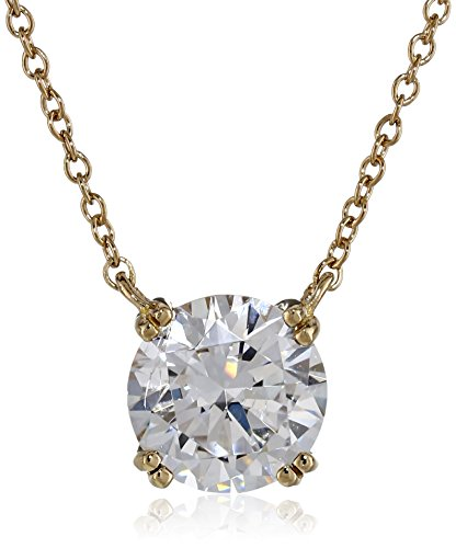 Yellow-Gold-Plated Sterling Silver Swarovski Zirconia Round Solitaire Pendant Necklace ()