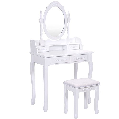 Vanity Makeup Table Set, Dressing Table with Stool and Mirror for Bedroom (1 Mirror + 4 Drawer+Stool) White Color by Morden