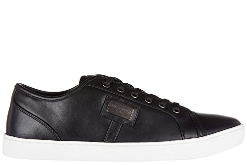 Dolce & Gabbana Men's Shoes Leather Trainers Sneakers Black US Size 10 CS0930 B6165 - 2014 And Dolce Gabbana Shoes