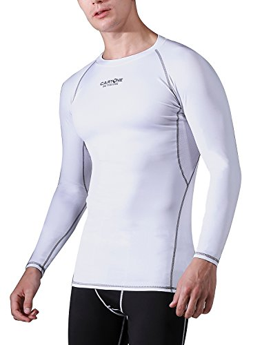 CARYONE Mens Fast Dry Breathable Long Sleeves Compression T Shirt Cycling Workout Baselayer Underlayer
