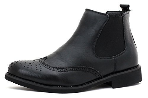 NEW Mens Ankle Chelse Brogue Boots Shoes Casual Smart Work UK Size Black