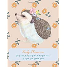 Daily Planner 2019 Time Schedule, Meal Plan, Weather/Mood & Water Tracker, Top 3 Goals, Tasks, Gratitude Section: Watercolor Romantic Hedgehog - One Page Per Day Diary 2019 with also Yearly Calendars, Monthly Planner and Notes Pages (Large Size)