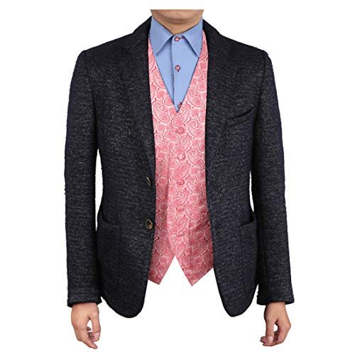 (Epoint EGC1B04C-3XL Pink Red Patterned Buy For Meeting Waistcoat Woven Microfiber Marriage Mens Vest XXX-Large Vest)