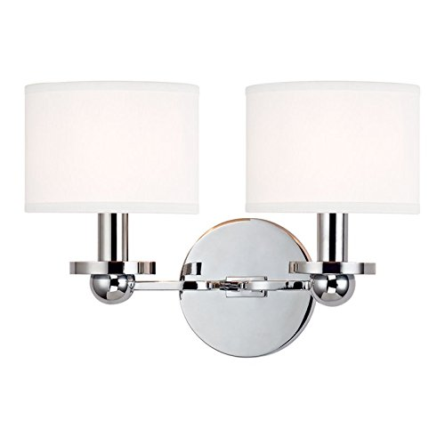 Kirkwood 2-Light Wall Sconce - Polished Chrome Finish with White Faux Silk Shade by Hudson Valley Lighting