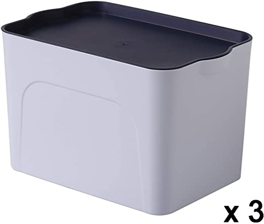 XIAOXIAO Caja De Almacenamiento Caja De Acabado De Plástico Caja De Almacenamiento De Ropa De Libros Cajón De Oficina En El Hogar Armario Caja De Almacenamiento (Color : Blue, Size : L):