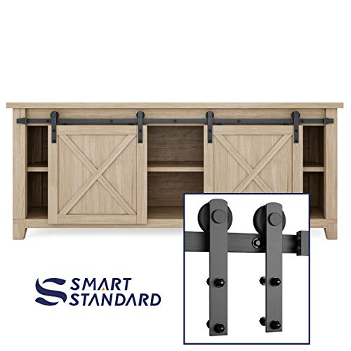 SMARTSTANDARD 6.6FT Mini Sliding Barn Door Hardware Track Kit -Super Smoothly and Quietly -For Double Opening Cabinet, TV Stand, Closet, Window -Fit 20-26 Wide Door Panel-I Shape Hanger (NO Cabinet)