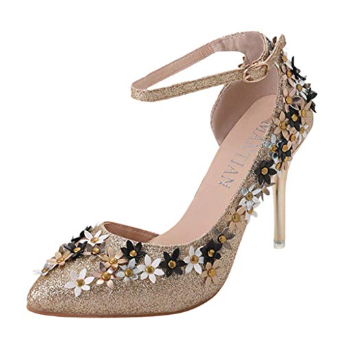 POHOK Women's Pointed Shoes Sequins Stiletto Shoes Belt Buckle High Heel Single Shoes(36,Gold) ()