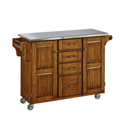 Home Styles Create-a-Cart Series Cuisine Cart with Stainless Steel Top, Warm Oak, 52-1 2-Inch