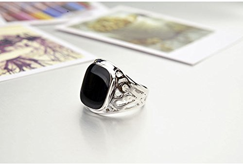 Star Jewelry Signet Pinky Ring With Black Square Enamel 18K Gold Plated For Men and Women Size 6-14
