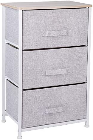 OWNFUN Fabric 3 Drawers Storage Dresser Organizer Unit for Bedroom, Hallway and Children s Room – Gray