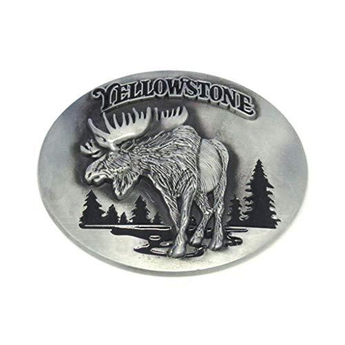 (Western Deer Belt Buckles Yellowstone Moose Pewter Novelty Belt Buckle for Cowboy Women Men Boys Girls)