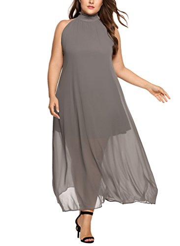 Involand Womens Plus Size High Neck Chiffon Sleeveless Party Maxi Dresses Belted Waist (Poplin Party Dress)