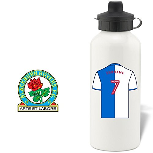 (Blackburn Rovers FC Official Personalized Aluminium White Water Bottle with Spring Hook (600ml) - Free Personalization)