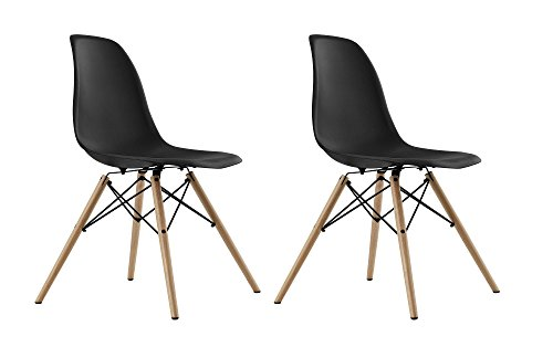 DHP Eames Replica Molded Chair with Wood Leg (Set of 2) 41Onp3hkzcL