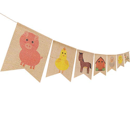 Farm Animal Party Decoration Barnyard Themed Party Banner Supplies for Birthday Baby Shower Celebrations, High Chair Garland Hanging Pennant