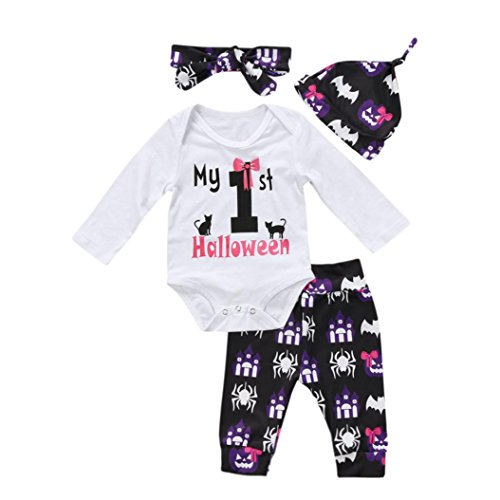 Army Outfit Halloween (Staron 4Pc Newborn Halloween Outfits Set Baby Girl Romper Tops+Pants+Hat+Headband (9-12 Months, White D))