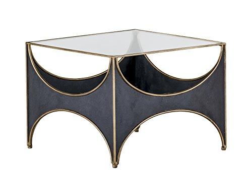 - Kathy Kuo Home Julissa Regency Half Moon Black Glass Top Coffee Table
