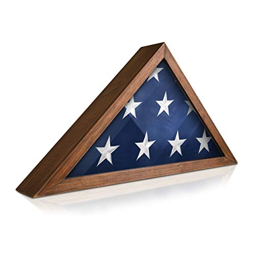 HBCY Creations Rustic Flag Case - Solid Wood Military Flag Display Case for 9.5 x 5 American Veteran Burial Flag, Wall Mounted Burial Flag Frame - Flag Shadow Box to ()