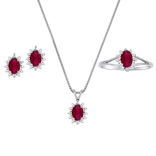 Genuine Natural Ruby & Diamond Pendant, Earrings & Ring Set in Sterling Silver .925 with Chain and Gift Box