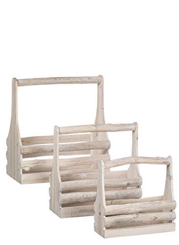 Sullivans N2088rama madera llevar Driftwood canasta de cestas con asas), color blanco, 11,5A 17inches, juego de 3