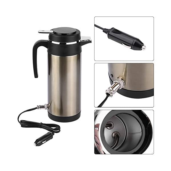 41OnqPQNEpL Wasserkocher 1200ML 12 V / 24 V Edelstahl Elektrische In auto Wasserkocher Reise Thermoskanne Heizung Wasserflasche…