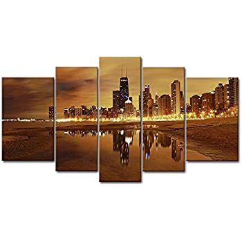 So Crazy Art 5 Panel Wall Art Painting Chicago Skyline Prints On Canvas The  Picture City