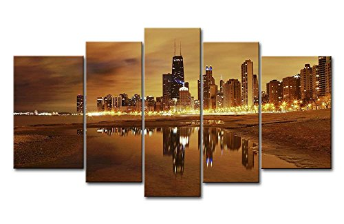 5 Panel Wall Art Painting Chicago Skyline Prints On Canvas The Picture City Pictures Oil for Home Modern Decoration Print ()