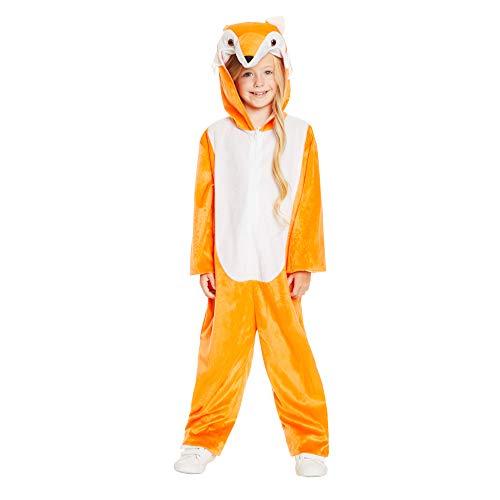 Cartoon Fox Pajama Costume - Halloween Kids Hooded Onesie with Fox Ears, L ()