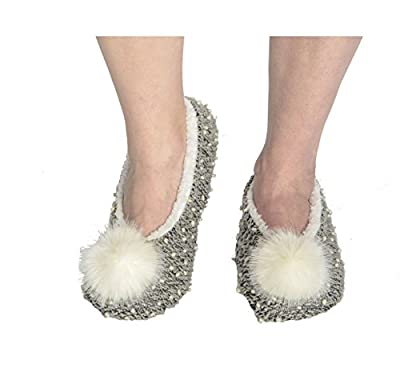 Snoozies Womens Nubby Knit Ballerina Comfort Sole Slippers