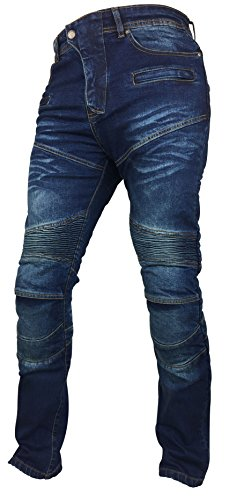 Fashio Men's Denim Motorcycle Motorbike Sports Jeans Protective Lined Armoured Blue K-08 W34-L32