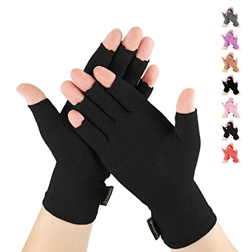 DISUPPO Arthritis Gloves for Women Relieve Pain from Rheumatoid, RSI,Carpal Tunnel, Compression Gloves for Computer Typing, Dailywork, Hands and Joints Pain Relief (Pure Black, Large)