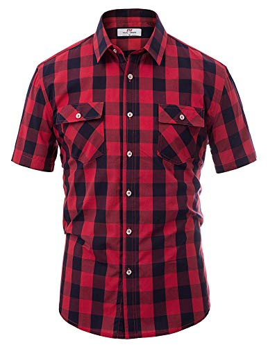 Men's Plaid Shirts-Short Sleeve Casual Button Down Slim Fit Shirts Size M Red
