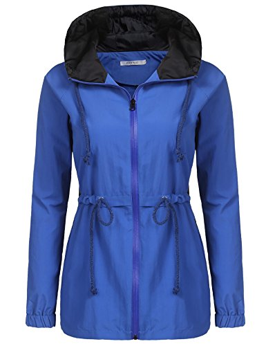 Soteer Womens Lightweight Hooded Raincoat Active Outdoor Waterproof Jacket Dark Blue XXL