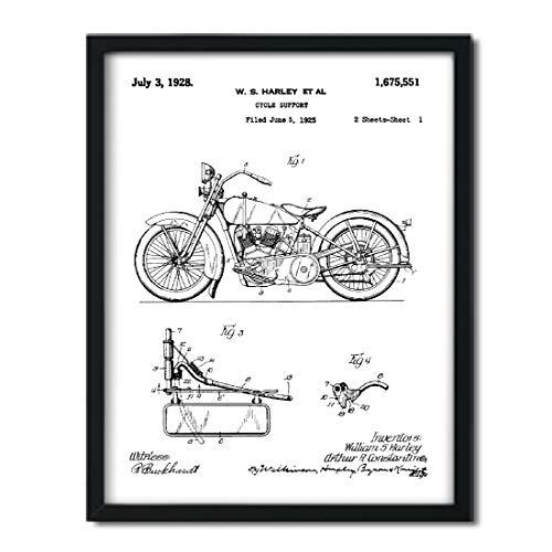 Andaz Press Unframed Modern Black Patent Print Wall Art Decor Poster, 8.5x11-inch, Planes, Trains, Automobiles, Harley Davidson Model JD 1925 Canvas Art, 1-Pack, Motorcycle Art