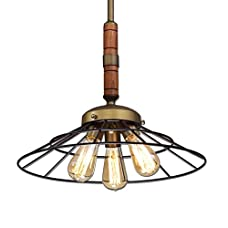 Ecopower Vintage Metal & Wood Chandeliers Kitchen Pendant Lighting Fixture