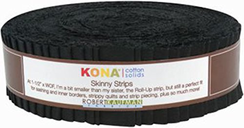 Robert Kaufman SS-101-40 Kona Solids Skinny Strips, 40 Piece, Black