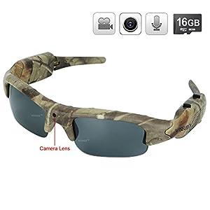 WISEUP 16GB 1280x720P HD Camo Sunglasses Hidden Camera Hunting Glasses Video Recorder Mini DV Camcorder Support Photo Taking